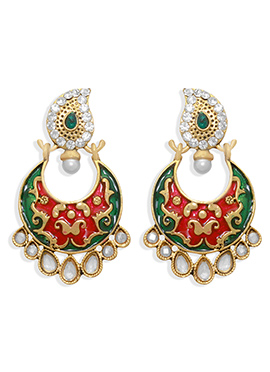 Dark Pink N Green Chand Bali Earring