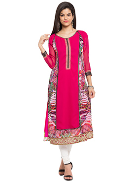 Dark Pink N Multicolored Long Kurti