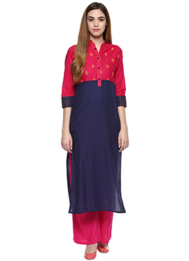 Dark Pink N Navy Blue Cotton Straight Pant Set