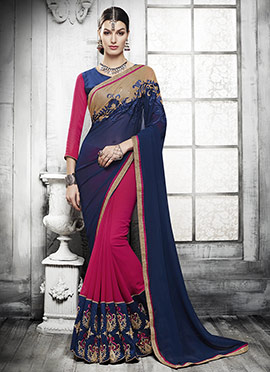 Dark Pink N Navy Blue Half N Half Saree