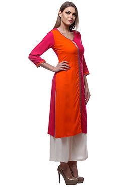 Dark Pink N Orange Viscose Long Kurti