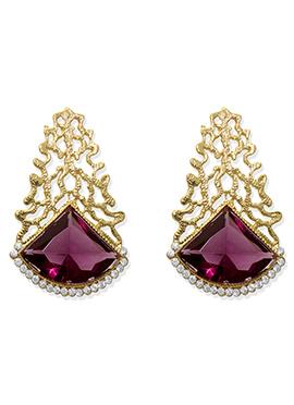 Golden N Dark Pink Studs Earrings