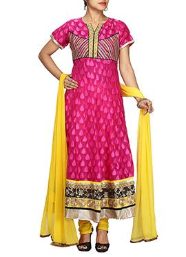 Dark Pink Net Anarkali Suit