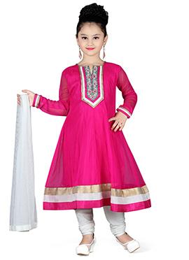 Dark Pink Net Kids Anarkali Suit