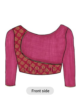 Dark Pink Overlapping Brocade Blouse