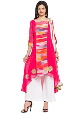 Dark Pink Printed Asymmetrical Palazzo Suit
