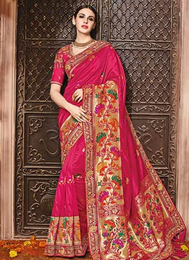 Dark Pink Pure Benarasi Silk Saree