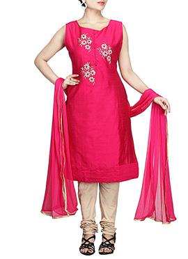 Dark Pink Chanderi Pure Silk Cotton Churidar Suit