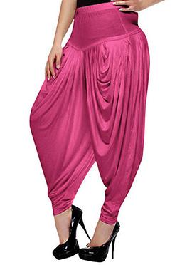 Dark Pink Rayon Dhoti Pant