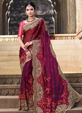 Dark Pink Silk Chiffon Saree