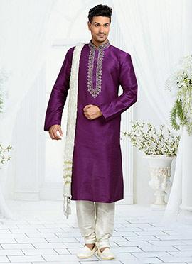 Dark Purple Art Dupion Silk Kurta Pyjama
