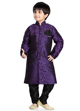 Dark Purple Art Silk Kids Kurta Pyjama