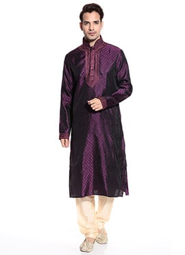 Dark Purple Art Silk Kurta Pyjama