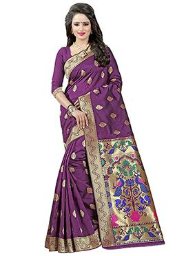Dark Purple Art Silk Saree