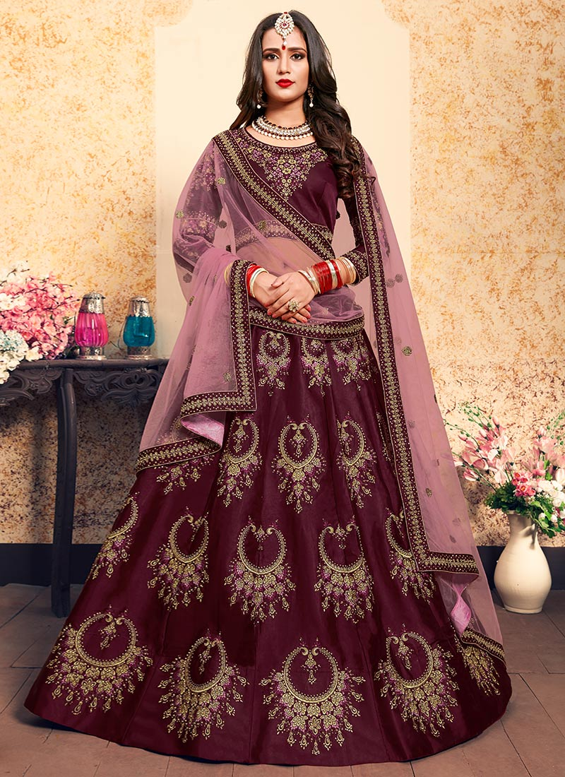 83c66dd186 Buy Dark Purple Embroidered A Line Lehenga, Embroidered, a line ...