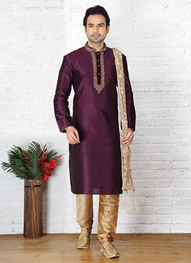 Dark Purple Embroidered Kurta Pyjama