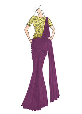 Dark Purple Georgette Drape Saree with Gold Embroidered Blouse