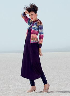 Dark Purple Gilet Jacket Style Kurti