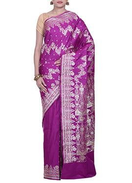 Dark Purple Handloom Silk Saree