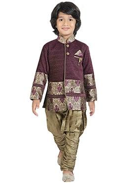 Dark Purple Kids Sherwani