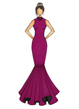 Dark Purple Mermaid Gown