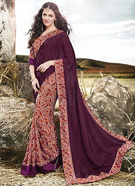 Dark Purple N Cream Half N Half Saree
