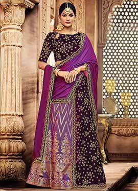 Dark Purple N Violet Embroidered A Line Lehenga