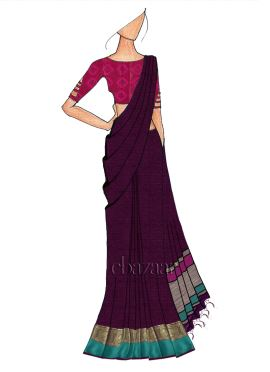 Dark Purple Spun Silk Saree N Pink Dual Tone Brocade Blouse