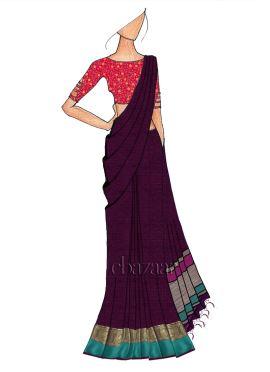 Dark Purple Spun Silk Saree N Pink Embroidered Velvet Blouse