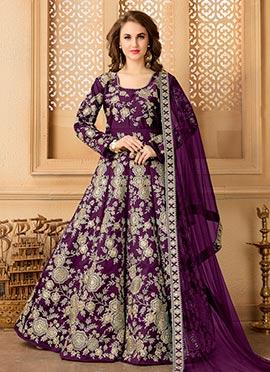 Dark Purple Taffeta Silk Abaya Style Anarkali Suit