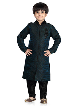 Dark Rama Blue Jacquard Kids Kurta Pyjama