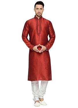 Dark Red Art Dupion Silk Kurta Pyjama