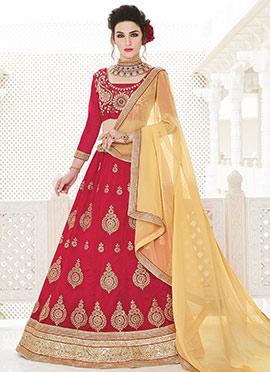Dark Red Art Silk Lehenga Choli