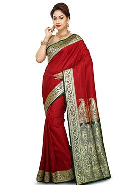 Dark Red Benarasi Pure Handloom Silk Saree