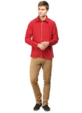 Dark Red Pure Silk Classic Shirt