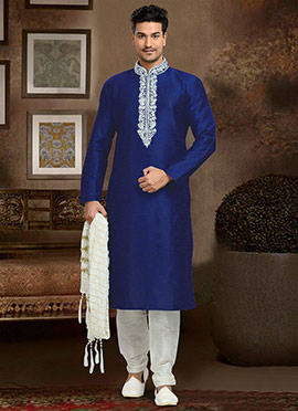 Dark Royal Blue Art Dupion Silk Kurta Pyjama