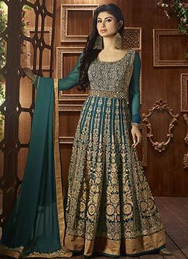 Dark Slate Green N Golden Anarkali Suit