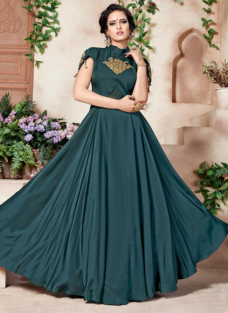 Buy Dark Teal Green Satin Silk Anarkali Gown, Embroidered, dresses ...