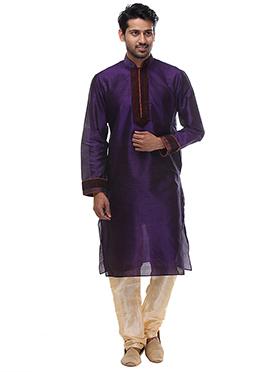 Dark Violet Art Dupion Silk Kurta Pyjama