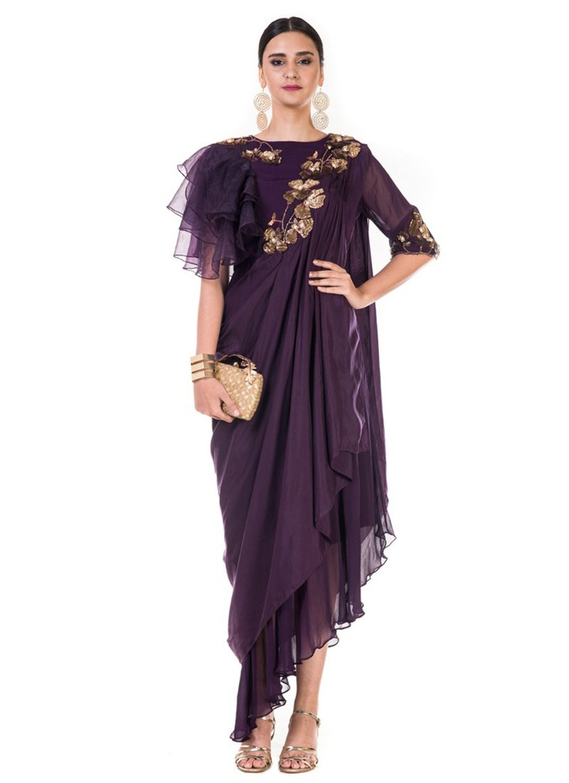 Buy Dark Violet Embroidered Draped Gown, Sequins , Embroidered ...