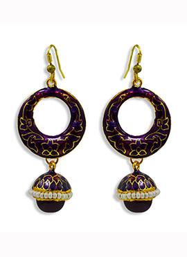 Dark Violet N Golden Hooks Earrings