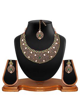 Dark Violet N Green Polki Studded Necklace Set