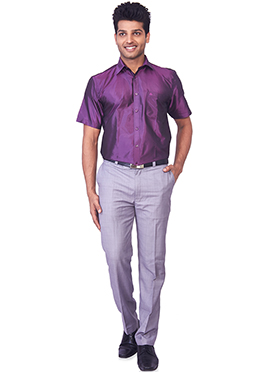 Dark Violet Pure Silk Classic Shirt