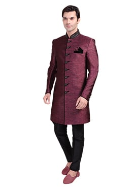 Dark White Breeches Style Sherwani