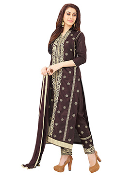 Dark Wine Blended Cotton Straight Pant Suit