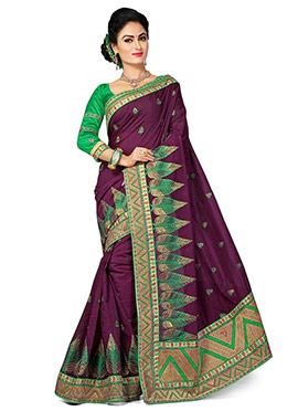 Dark Wine Chanderi Silk Embroidered Saree