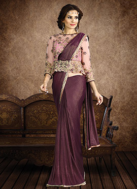 Dark Wine Shimmer Georgette Border Saree
