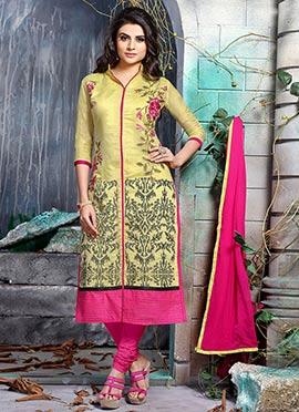 Dark Yellow Embroidered Salwar Suit