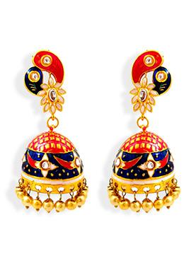 Decorative Designed Meenakari Worked Jhumkas