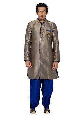 Deep Beige Art Silk Indowestern Kurta Pyjama